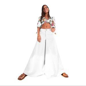 FARM Rio Anthropologie Wide Leg High Rise Jeans